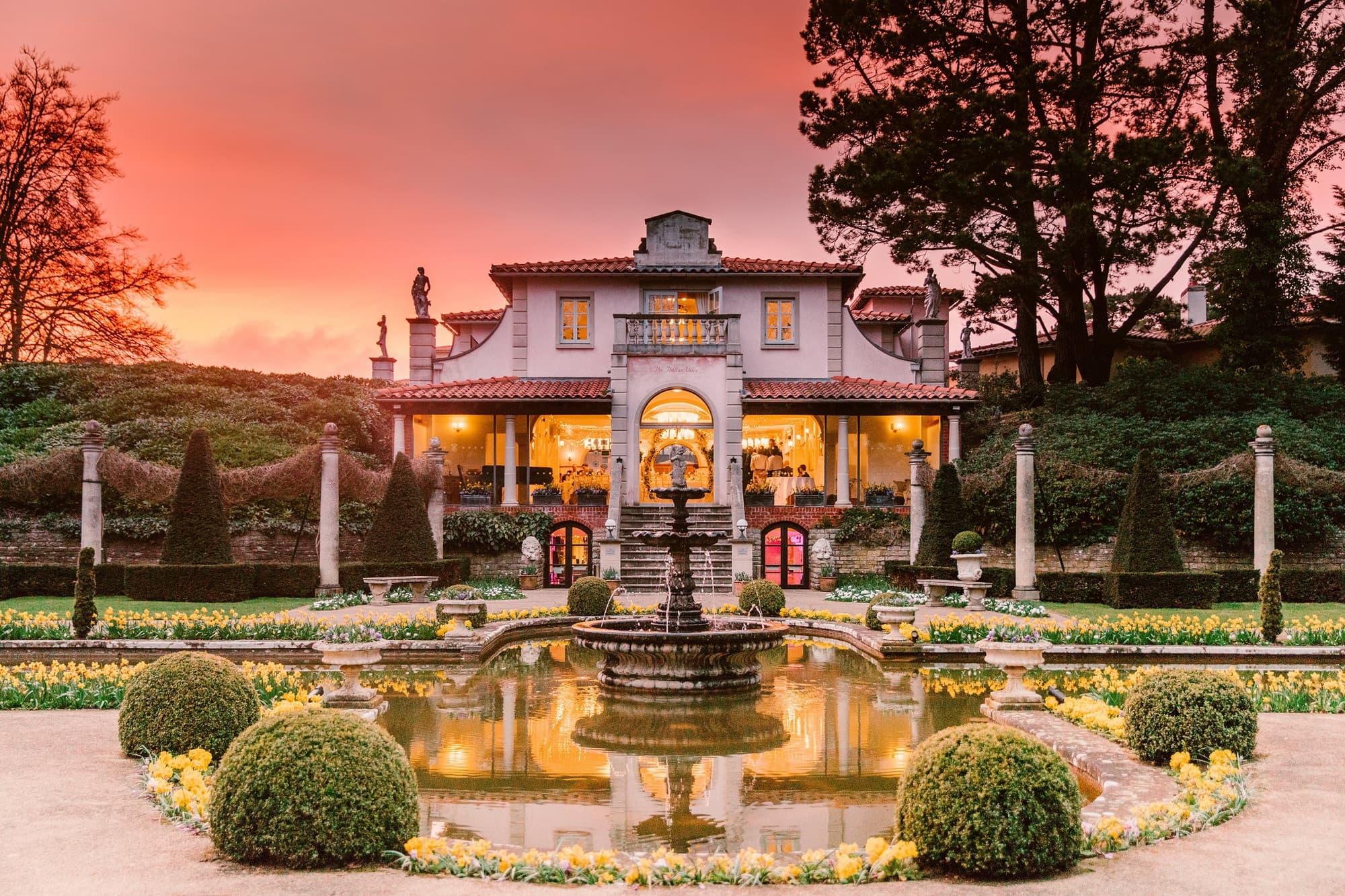Sunset in The Italian Villa Garden - Bournemouth wedding venues