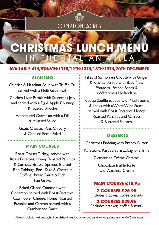 Christmas Lunch Menu at The Italian Villa