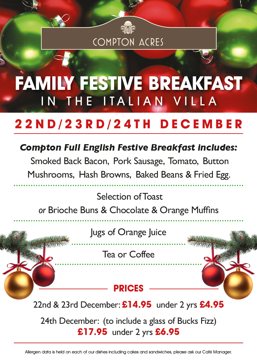 Family Festive Breakfast in The Italian Villa at Compton Acres
